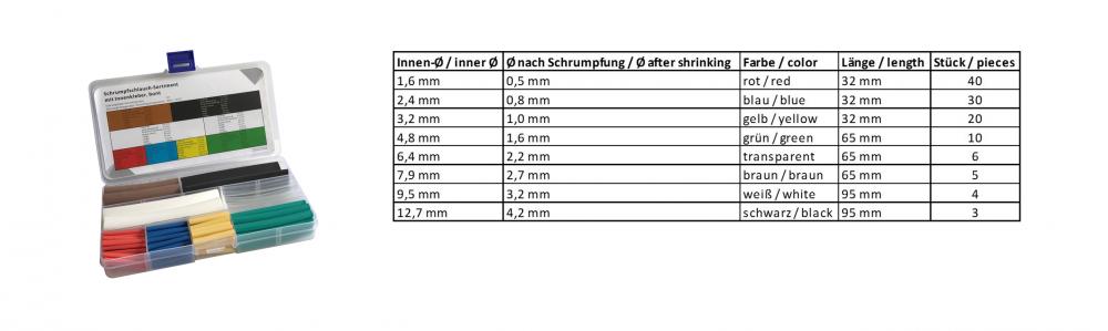 Schrumpfschlauch-Sortiment Schrumpfrate 3:1, bunt (mit Innenkleber)