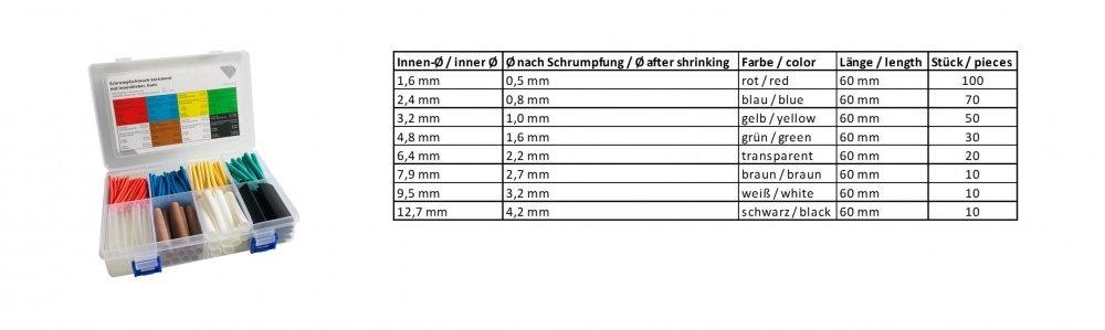 Schrumpfschlauch-Sortiment 60 Schrumpfrate 3:1, bunt (mit Innenkleber)